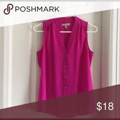 Banana Republic Hot Pink Tank Blouse The perfect top for a professional girl this spring/summer! Never worn (new without tags) ... I bought this two years ago, in love with the color and fit, and then got pregnant with baby number 2.... my body is not the same and it doesn't fit!!! Banana Republic Tops Blouses