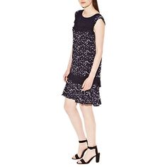 £25 Buy French Connection Marble Pool Capped Sleeve Dress, Black Online at johnlewis.com
