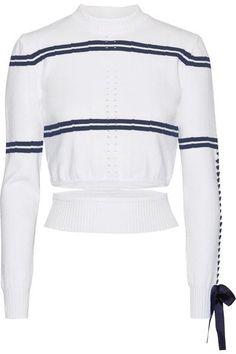 Fendi | Cutout faille-trimmed striped pointelle-knit sweater | NET-A-PORTER.COM