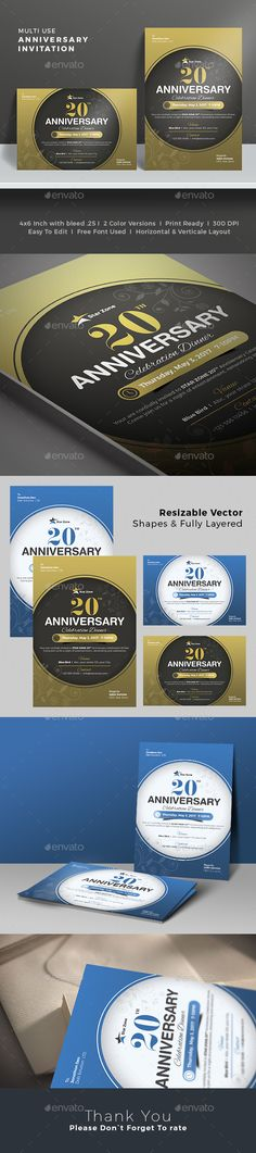 Anniversary Invitation Card - Anniversary Greeting Cards. Great for small or medium enterprises. #CelebrateinStyle Download http://graphicriver.net/item/anniversary-invitation-card/15857318?ref=themedevisers