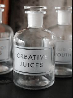 Creative Juices Etched Apothecary Bottle by Rockett St George Apothecary Bottles, Bottles And Jars, Glass Bottles, Rockett St George, Jar Storage, Bottle Design, Glass Etching, Creative Inspiration, Brand Inspiration