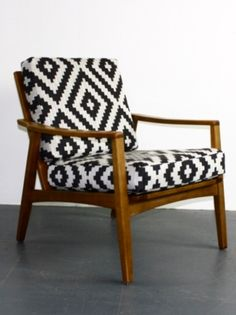 Midcentury Danish armchair with geometric fabric - Lovely and Company