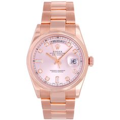 Pre-owned Rolex Rose Gold and Diamond Day-Date President Wristwatch... ($24,500) ❤ liked on Polyvore featuring jewelry, watches, accessories, bracelets, wrist watches, pink gold watches, pre owned watches, rolex wrist watch, diamond watches and pre owned jewelry