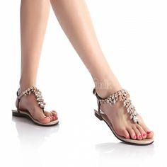Summer Sandals T Strap Open Toe Rhinestones Flat Shoes