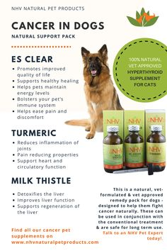 Is there some natural support that you can offer your dog while he or she battles cancer? Yes. NHV cancer support kit is the ideal natural supplement kit to add to your cancer dog's diet. It will help control the cancer and make coping with it more comfortable.