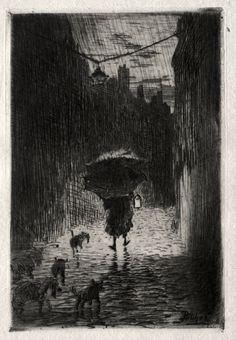 Rain and Umbrella, Felix Hilaire Buhot | Cleveland Museum of Art