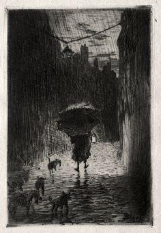 Rain and Umbrella, Felix Hilaire Buhot   Cleveland Museum of Art