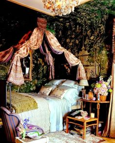 Finding a Muralist, Looking for Muralist, Custom Murals, Faux Painting - boho bedroom decor Bedroom Green, Dream Bedroom, Bedroom Decor, Green Bedrooms, Fairytale Bedroom, Fairy Bedroom, Bedroom Ideas, Gypsy Bedroom, Bedroom Designs