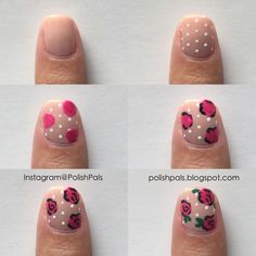 You cannot go wrong with dainty rose nails if you're looking for some super feminine nail art. Diy Rose Nails, Diy Nails Flowers, Rose Nails Tutorial, Rose Nail Art, Flower Nail Art, Pink Nails, Flower Nail Designs, Colorful Nail Designs, Nail Art Designs
