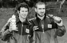 Plenty of superstars have come and gone during Giggs' time at United, perhaps none as mercurial as Eric Cantona. The Frenchman joined United from Leeds in later 1992, and helped the Reds to win four league titles in five seasons - twice in that period, United claimed the league and cup double too. Here is a picture of Giggs and Cantona in 1995