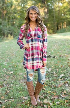 The Pink Lily Boutique - Taste Of Country Plaid Button Up Magenta , $35.00 (http://thepinklilyboutique.com/taste-of-country-plaid-button-up-magenta/)