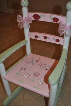 Childrens Custom Hand Painted Floral Patchwork Kids Rocking Chair - Baby Shower…