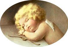 Bessie Peace Gutman - Уснувший ангел Vintage Cards, Vintage Images, Little Cherubs, Foto Transfer, Angels Among Us, Angel Pictures, Wow Art, Guardian Angels, Angel Art