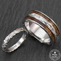 pair of hand engraved platinum and sterling silver wedding ring set with hawaiian koa wood inlay - Wiccan Wedding Rings