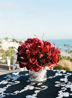 Lily and rose centerpieces