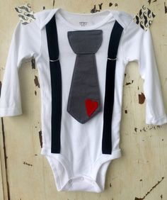 Baby Boy Onesie with Tie and Suspenders