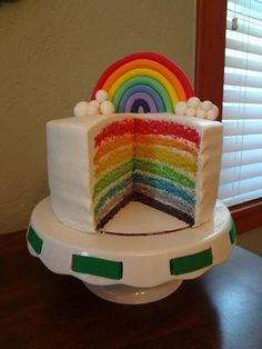 Rainbow cake topper by FondantCakeToppers on Etsy, $23.95