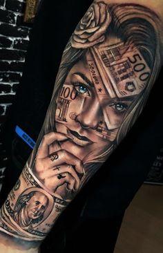 Portrait Tattoo Sleeve, Skull Sleeve Tattoos, Red Ink Tattoos, Forarm Tattoos, Best Sleeve Tattoos, Dream Tattoos, Life Tattoos, Body Art Tattoos, Hand Tattoos