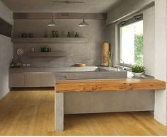 Pale grays, clean, calm kitchen.  I've heard concrete countertops aren't good though--they stain.