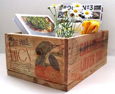 Here comes a project that is a total indulgence in my love of pallet wood, farm and orchard crates, nostalgic stamps, and weathered typography. These crates are made from discarded pallets, and per...