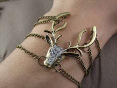 bronze bracelet vintage style Frozen kristoff anna elsa snow queen sven crystal deer Antlers with bracelet pendant