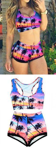 Purple Coconut Tree Print Crop Bikini Top and High Waist Bottom,sexy swimsuit for this summer!
