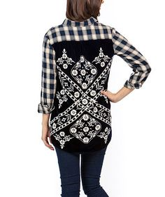 Loving this Black & White Embroidered Button-Up Top on #zulily! #zulilyfinds