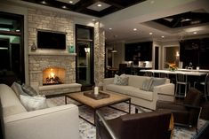 How To Decorate A Large Living Room Ideas) decorating a long living room - Living Room Decoration Living Room With Fireplace, Cozy Living Rooms, Living Room Decor, Fireplace Wall, Living Area, Fireplace Ideas, Fireplace Design, Fireplace Stone, Stone Mantel