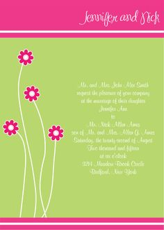 Fun Customizable Floral Wedding Invitation #invites