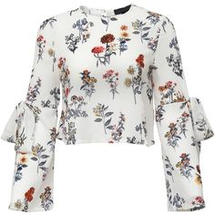 White Floral Bow Tie Key-hole Back Blouse ($15) ❤ liked on Polyvore featuring tops, blouses, white, sleeve blouse, floral print tops, white top, long sleeve tops and white long sleeve top