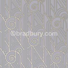 Bradbury Retro Designs | Art Deco Style Volute Wallpaper in Periwinkle