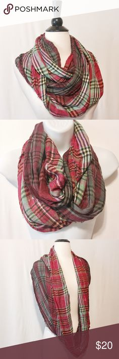 """✨ Fuchsia & Green Plaid Infinity Scarf Dip dyed plaid infinity scarf. Fringe edges. 100% Viscose Hand Wash or Dry Clean Only 20"""" wide x 60"""" Long TH0300117 Renee's NYC Accessories Scarves & Wraps"""