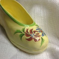 Weird Little Antique Lonely Yellow Ceramic Shoe With Red + Blue Flowers Green