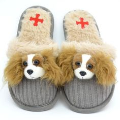 Fuzzy Nation Cavalier King Charles Spaniel Slippers
