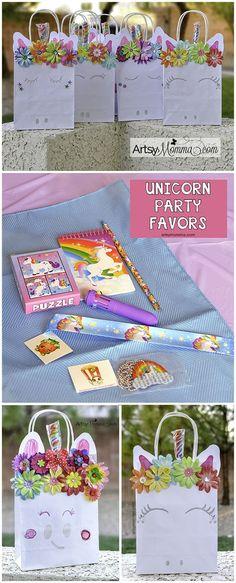 Magical DIY Unicorn Bags and Rainbow Unicorn Party Favor Ideas (sponsored) - Diy Unicorn Bag, Unicorn Crafts, Rainbow Unicorn Party, Unicorn Birthday Parties, Birthday Bash, Birthday Ideas, Family Planner Calendar, Rainbow Crafts, Party Themes