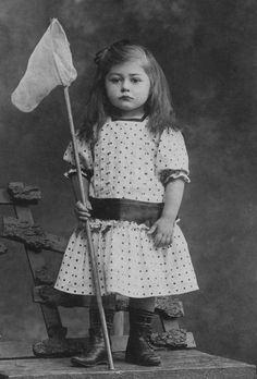 Vintage postcard girl with a butterfly net photo byCiechounek 1900