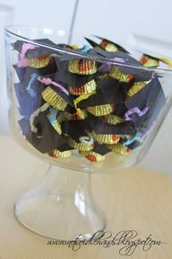 Graduation idea, bowl full of grad caps 24 MINi reese  cups 24 after eight thin mints 24 semi sweet choc pieces or 24 m n ms or your choice use icng to make tassel by making  a loop then top with m n m