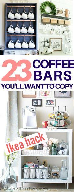 I found the EXACT diy coffee bar look I want! diy coffee stations, diy home decor, diy room decor, ikea hack, farmhouse decor ideas