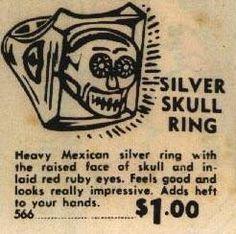 vintage skull ring comic book ad