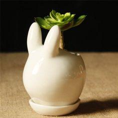 Mini Ceramic Rabbit Shape Succulent Plants Flower Pot Garden DIY Potted Plant Decoration Flower Pot