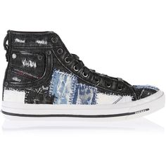 Diesel EXPOSURE IV W Sneakers ($154) ❤ liked on Polyvore featuring shoes, sneakers, black denim, women, black hi tops, lace up high top sneakers, diesel shoes, hi tops and lace up shoes
