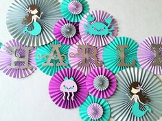 Under The Sea Paper Fan Set- Set of 13, Under the Sea Party, Mermaid Birthday, Under the Sea Birthday, Mermaid Lavender and Aqua by #pleatsonsheets