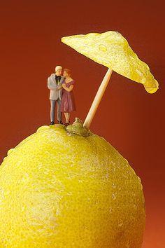 A Couple In Lemon Rain Little People On Food by Paul Ge