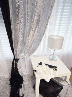 HANDMADE SILVER SEQUINS BEADED CURTAIN DRAPERY PANEL ROOM DIVIDER, MADE TO ORDER #Handmade #Modern