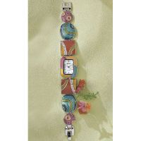 Enameled Link Bracelet Watch