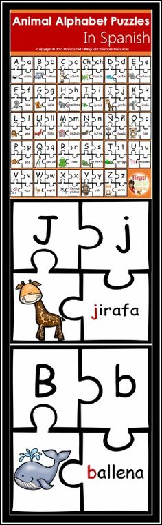 Animal Alphabet Puzzles (In Spanish) Spanish Lessons For Kids, Learning Spanish For Kids, Teaching Spanish, Teaching Reading, Teaching Kids, Study Spanish, Spanish Activities, Bilingual Classroom, Classroom Language