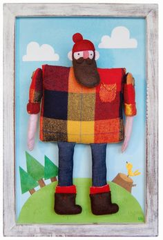 Lumberjack - stuffed form attached to framed background