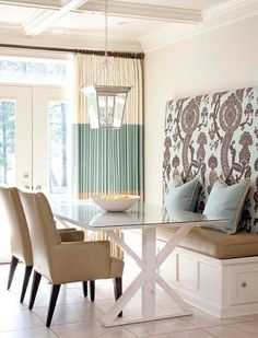 Love this Kitchen banquette seating area! Next house banquette seating! Home Interior, Interior Design, Interior Decorating, Decorating Ideas, Interior Doors, Interior Ideas, Contemporary Interior, Kitchen Interior, Kitchen Breakfast Nooks