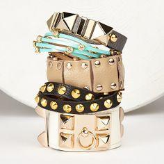 #trending #cuffs #stackedbracelets #bracelets #embellished #grommets #fashion #trend #accessories #styled