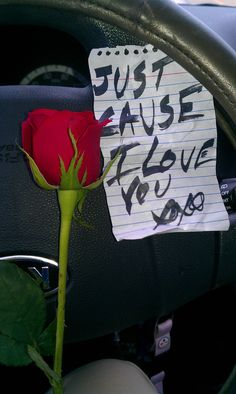 This reminds me of the day i found a red rose and a simple handwritten note laying on my drivers seat when i was about to leave for work one morning several years ago. such a simple gesture but it absolutely made my day! remember guys........It's the small things that make her smile... :-)